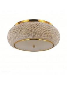 Pasha' pl14 plafoniera con perle in cristallo rotonda ø65 oro