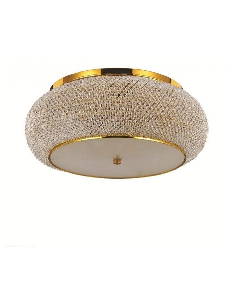 IDEAL LUX: Pasha' pl14 plafoniera con perle in cristallo rotonda ø65 oro in offerta