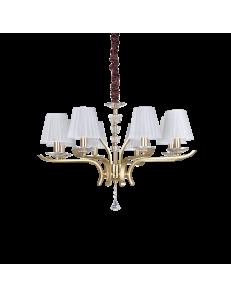 IDEAL LUX: Pegaso sp8 lampadario 8 luci ottone e bianco in offerta