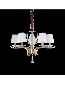 IDEAL LUX: Pegaso sp5 lampadario 5 luci ottone e bianco in offerta