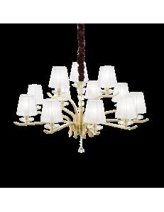 IDEAL LUX: Pegaso sp12 lampadario 12 luci ottone e bianco in offerta