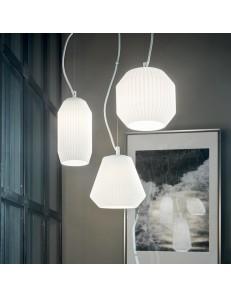 Origami-3 sospensione 3 luci in vetro bianco ø40 cm