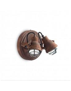 IDEAL LUX: Bob mini ap2 faretto applique 2 luci vintage ruggine in offerta