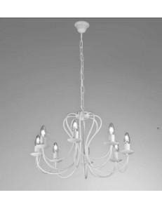 MR DESIGN: Margot lampadario 8 luci metallo lavorato finitura bianco shabby chic in offerta