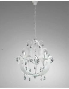 MR DESIGN: Oxford lampadario 5 luci artigianale finitura bianco gocce cristallo shabby chic in