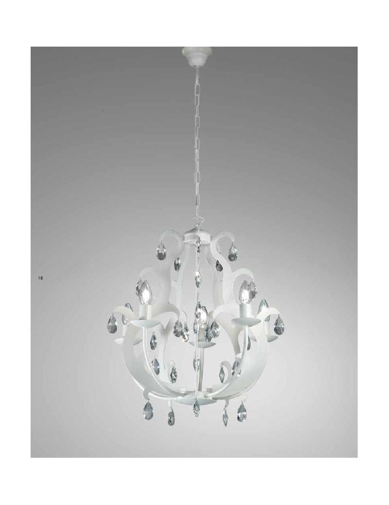 Lampadari A Gocce In Cristallo.Mr Design Oxford Lampadario 5 Luci Artigianale Finitura Bianco