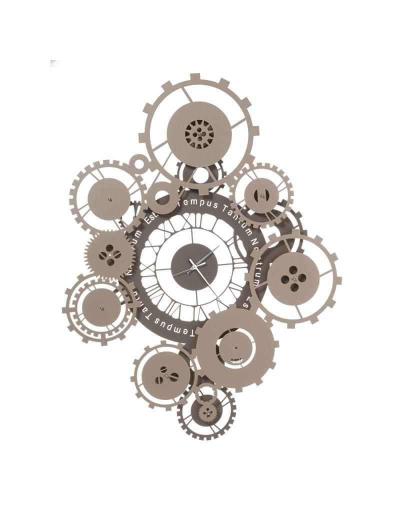 ARTI e MESTIERI: Tempus orologio da parete fango e sabbia contemporaneo con ingranaggi Ø100 in