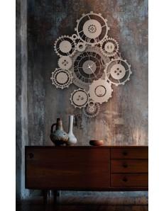 ARTI e MESTIERI: Tempus orologio da parete bronzo e sabbia contemporaneo con ingranaggi Ø100 in
