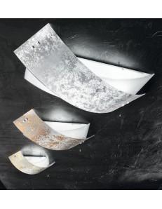 camilla plafoniera vetro grande 83x44cm foglia oro, rame o argento