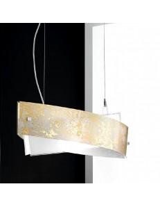 GEA LUCE: camilla sospensione ovale media 75x23cm foglia oro, rame o argento in offerta