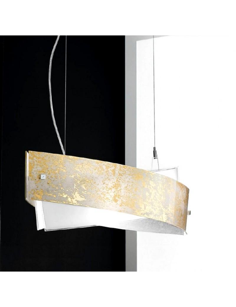 camilla sospensione ovale media 75x23cm foglia oro, rame o argento