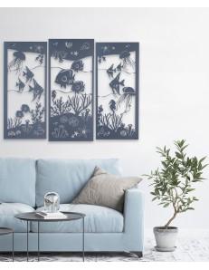 ARTI & MESTIERI: Nettuno quadro moderno metallo azzurro con fondale marino in offerta