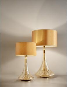 ANTEALUCE: NOA lampada da tavolo grande o piccola cristallo oro ambra paralume ocra in offerta