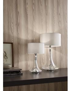ANTEALUCE: NOA lampada da tavolo grande o piccola cristallo iride cromo paralume bianco in offerta