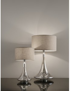ANTEALUCE: NOA lampada da tavolo grande o piccola cristallo cromo fumee paralume lino in offerta