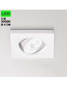GEA LUCE: Faretto 3w 3000k led da incasso orientabile quadrato bianco in offerta