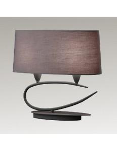 Lua lampada da tavolo stilizzata con paralume ovale grigio cenere