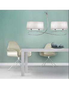 Lua lampadario moderno bilancere paralumi tessuto ovale bianco