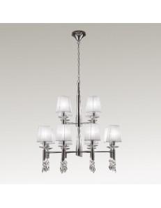 Tiffany chrome lampadario grande 12 paralumi bianchi cromato