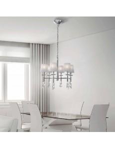 Tiffany chrome lampadario medio 6 paralumi bianchi cromato
