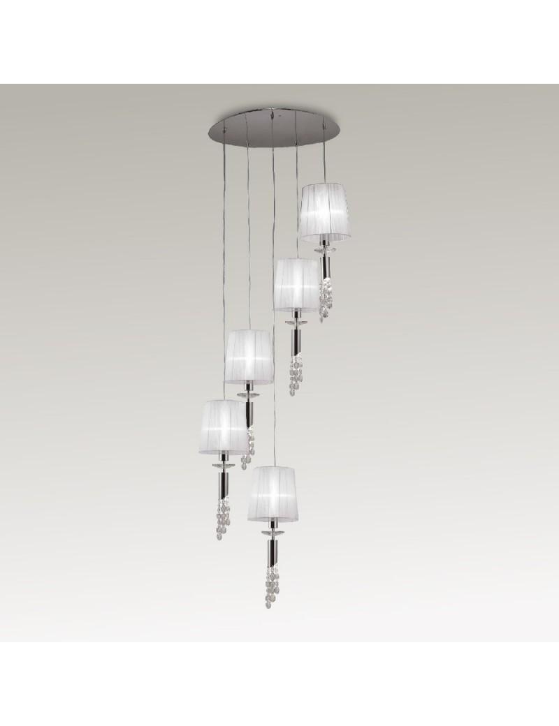 Tiffany lampadario a spirale di paralumi con cristalli pendenti