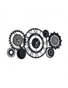 Fuso meccano orologio da parete con fusi orari metallo nero