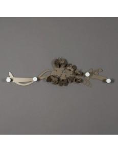 Orchidea appendiabiti da muro in metallo bronzo design moderno