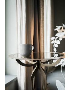 Tavolino alto moderno minerva ferro battuto bronzo per ingresso