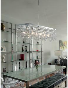 Penelope grande lampadario rettangolare soggiorno cristalli pendenti K9