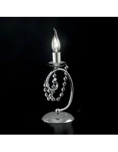 Magda lampada da comodino abat jour cromata decorata con cristalli
