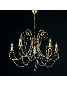 Magda lampadario Ø 68 stilizzato dorato con catene di cristallo 5 luci
