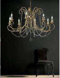 Magda lampadario Ø 74 stilizzato dorato con catene di cristallo 8 luci