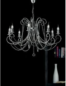 Magda lampadario Ø 74 stilizzato cromato con catene di cristallo 8 luci