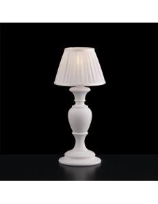 Fiorenza lampada da comodino in legno bianco con paralume plisse
