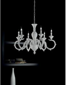 Fiorenza lampadario Ø 91 legno bianco 6 luci shabby chic