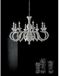 Fiorenza lampadario Ø 93 legno bianco 8 luci shabby chic