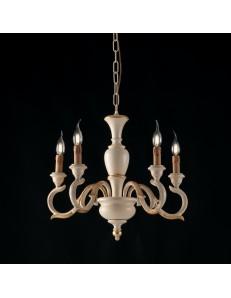 Fiorenza lampadario legno avorio oro anticato Ø50