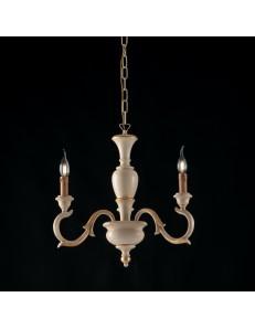 Fiorenza lampadario legno 3 luci avorio e oro anticato Ø43