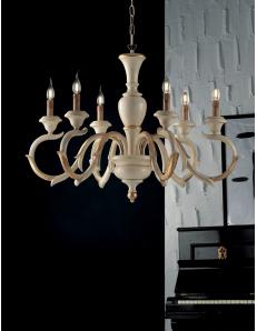 Fiorenza lampadario in legno Ø91 per soggiorno camera avorio oro anticato