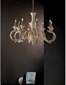 Fiorenza grande lampadario Ø93 da salone il legno avorio oro anticato
