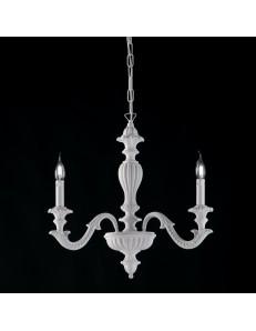Leonardo piccolo lampadario 3 bracci shabbu chic bianco legno