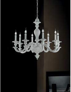 Leonardo lampadario legno bianco 8 bracci Ø80 shabby chic style