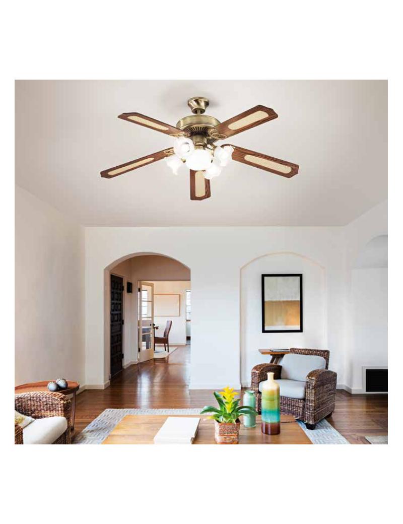 Ventilatore soffitto5 pale con luce ottone brunito