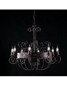 Baltimora lampadario in ferro battuto ruggine nero soggiorno arte povera Ø 76
