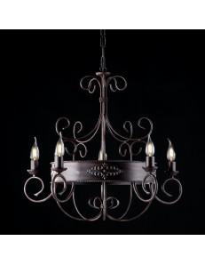 Baltimora lampadario in ferro battuto ruggine nero cucina arte povera Ø60