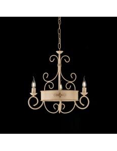 BONETTI ILLUMINA: Baltimora lampadario ferro battuto artigianale decorato avorio Ø53 in offerta