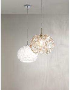 Meteora lampadario moderno vetro bianco Ø35 cucina