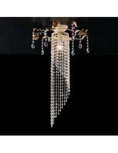 BONETTI ILLUMINA: Lolita plafoniera piccola oro e avorio pendenti in cristallo k9 e strass in