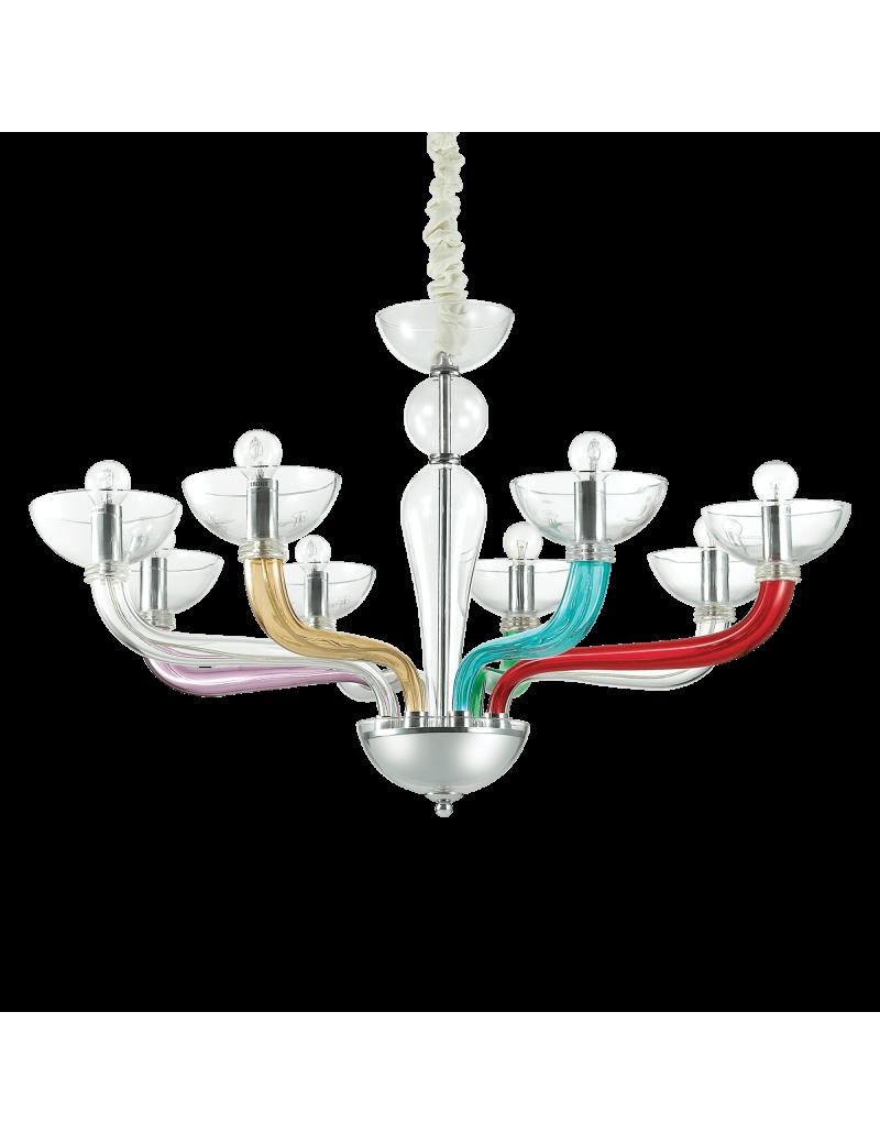 IDEAL LUX: Casanova sp8 lampadario sospensione vetro soffiato multicolor in offerta