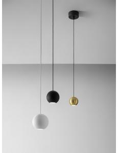 GUYA sospensione sfera LED 8.5 w lampada penisola cucina bianco oro o nero luce calda Gea luce